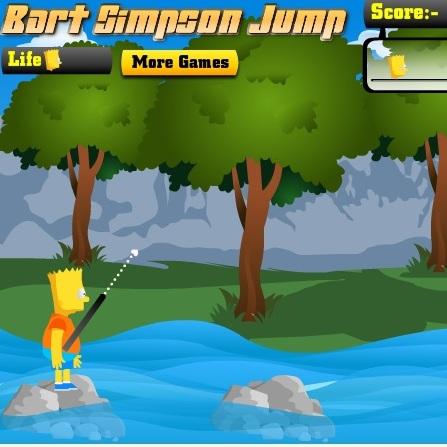 Симпсоны Барт прыгает по камням