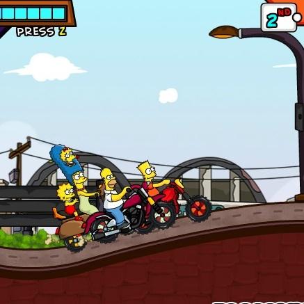 Симпсоны гонка на мотоциклах