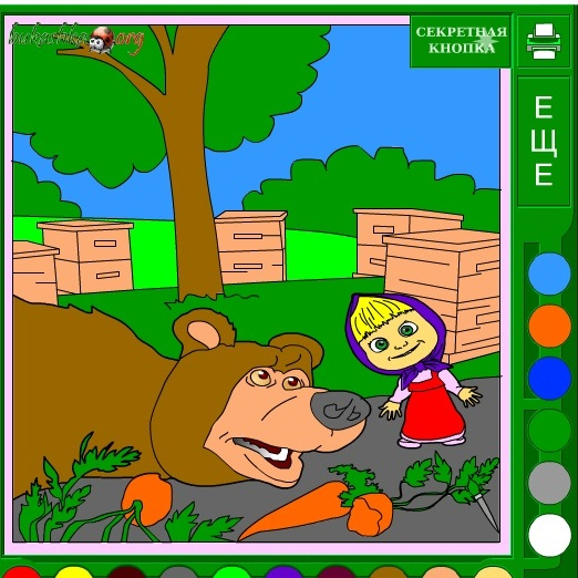 Раскраска Маша и Медведь на огороде