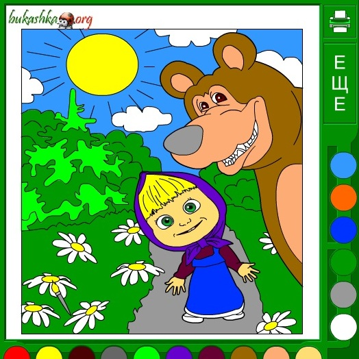Маша и Медведь в лесу раскраска