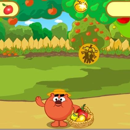 Смешарики Копатыч собирает фрукты