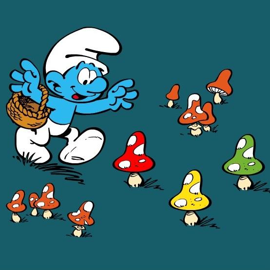 Смурфики сбор грибов