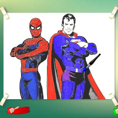 Раскраска СуперМен и Человек паук