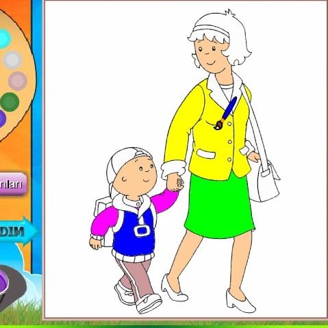 Раскраска Каю и мама
