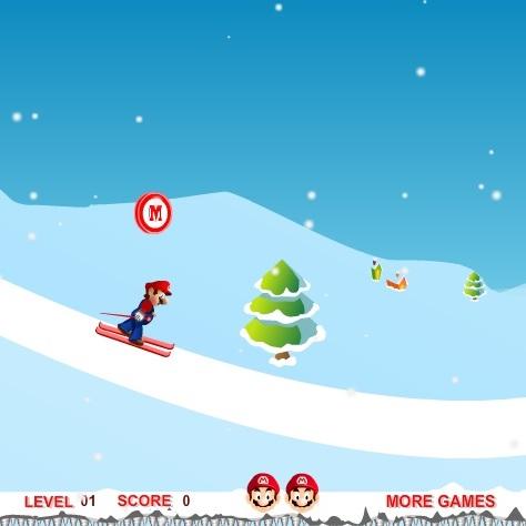 Марио катание на лыжах
